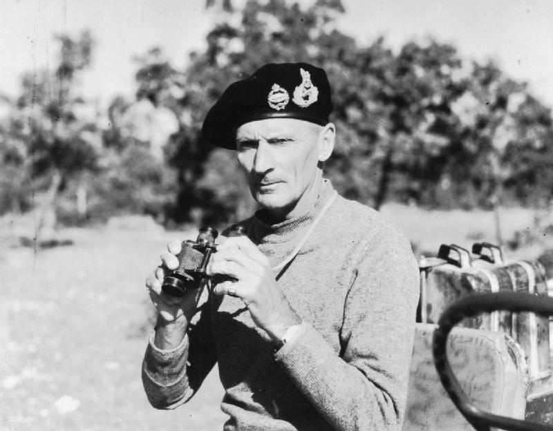 Lieutenant General (later Field Marshal) Bernard Montgomery in field dress, at Eighth Army Headquarters in Italy. In 1944-45 he was Commander-in-Chief of 21st Army Group in North-West Europe. © IWM (MH 8738)