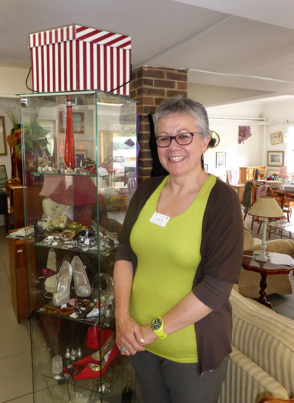 Ms Jan Beavis at The Hospice Shop in Hiltingbury, Chandler's Ford