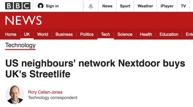 US neighbours' network Nextdoor buys UK's Streetlife - BBC News
