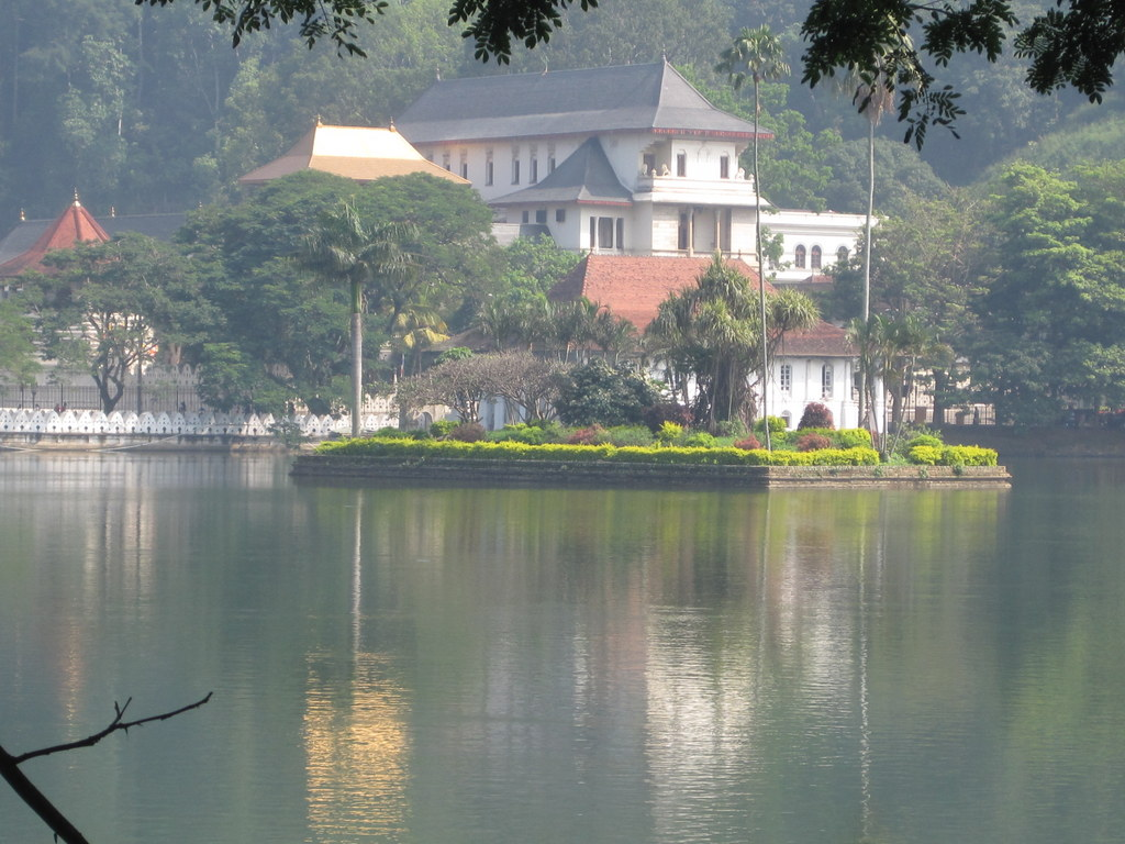 Temple of the Tooth and Island on Kandy Lake, Sri Lanka.