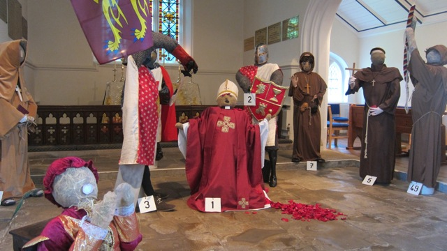 Murder in the Cathedral - Scarecrows at St Michael and All Angels church in Pirbright, Surrey.