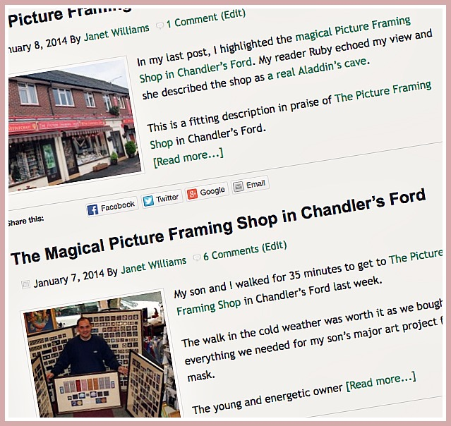 Praises and comments on The Picture Framing Shop.