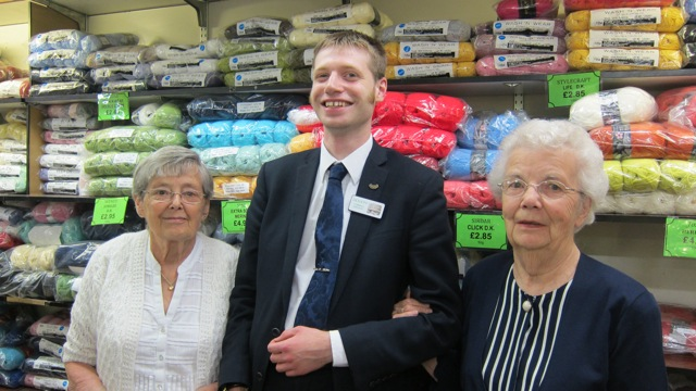 Thomas Macey with Jean Lay (rght), who had worked at Jacksons for 40 years, and Pam, who had been at Jacksons for 15 years. Thomas worked at Jacksons for 10 years since he was 16.