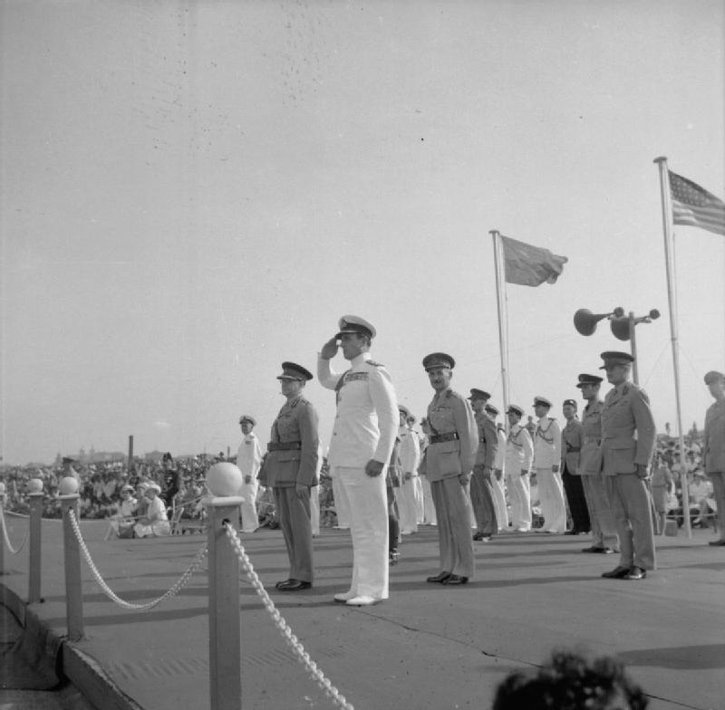 VJ Day parade at Columbo, Ceylon. Lord Louis Mountbatten, Supreme Allied Commander, South East Asia, takes the salute during the VJ Day Parade on the Galle Face Green, Columbo, Ceylon. © IWM (SE 4578)
