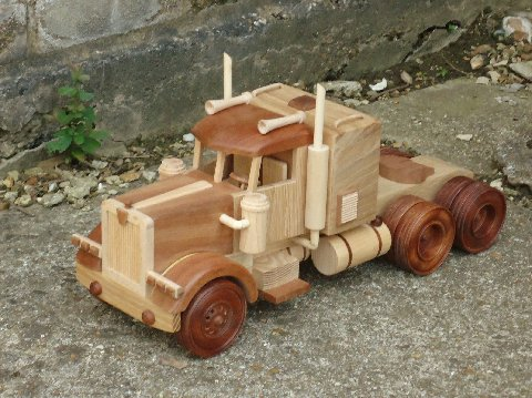 American truck. Handmade Creative Wood Decorations and Toys by Jeff Parsonson.