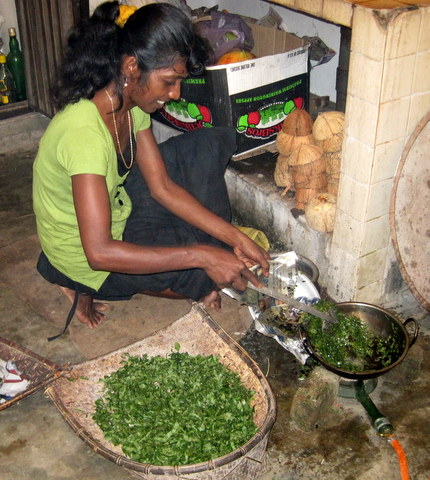 Preparing vegetables in Sri Lanka.