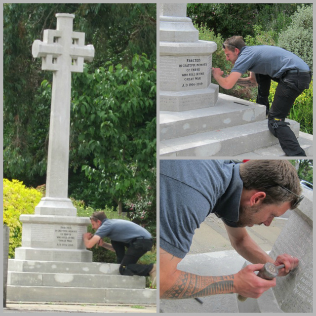 Crouching and kneeling - Jon Tann is renovating Chandler's Ford War Memorial at St. Boniface Church.