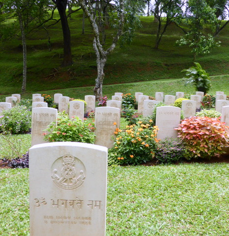 Headstones in the military Cemetery at Kandy, Sri Lanka.