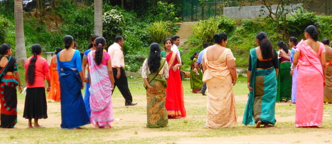 Mothers in their saris line up for the parents' race.