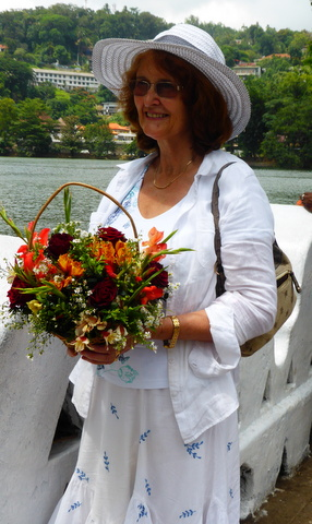 Brenda was awarded a bouquet for her speech in Sinhala.