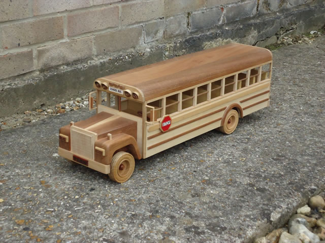 Canadian School Bus - Front View. Toy made by Jeff Parsonson.