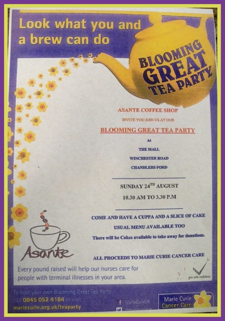 Asante fundraising for Marie Curie Cancer Care on 24th August (Sunday).
