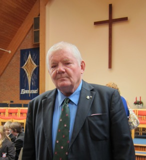 Brian Hunt, at Methodist Church Age Concern Christmas carol service, 2013.
