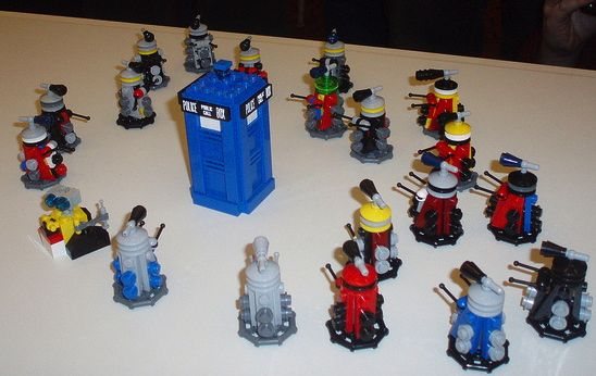 "Lego Daleks by <a href=""https://www.flickr.com/photos/lostcarpark/4976206209"">James Shields</a> via Flickr."