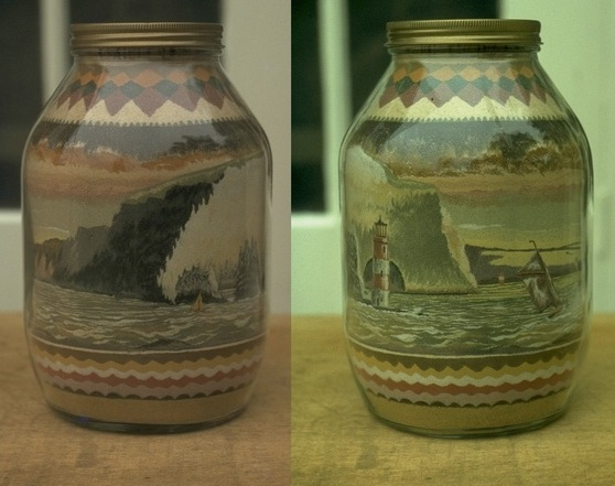 Sandbottle by Brian Pike - 'The Needles, 2 views of the same bottle', 1982.