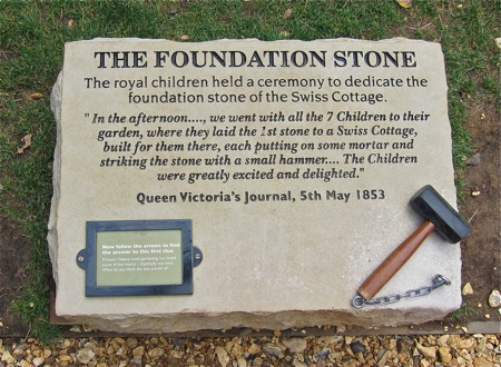The royal children held a ceremony to dedicate the foundation stone of the Swiss Cottage, Osborne House.