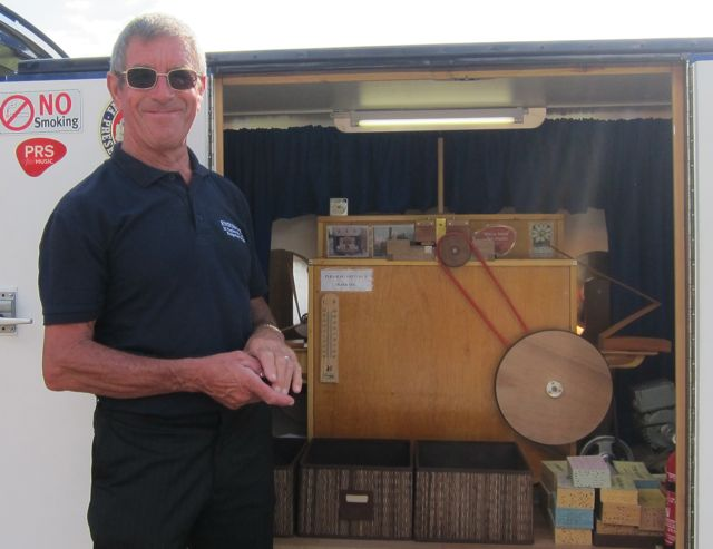 Dave Clothier with his 22 keyless fairground organ made by Paul McCarthy.