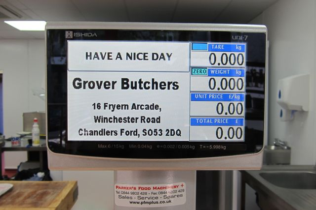 Grover Butchers: 16 Fryern Arcade, Chandler's Ford.