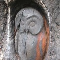 Burnt owl sculpture at Hocombe Mead, Chandler's Ford.