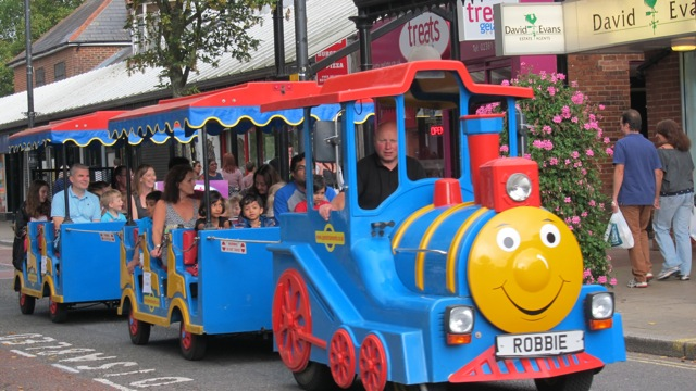 Robbie the Land Train on Eastleigh High Street.