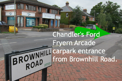 Brownhill Road entrance to Fryern Arcade carpark