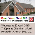 Chandler's Ford Hustings event 22 April 2015 Chandler's Ford Methodist Church.
