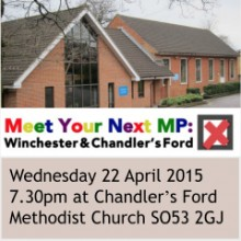Public Hustings: Meet the Candidates: Wednesday 22 April 7.30pm Chandler's Ford Methodist Church