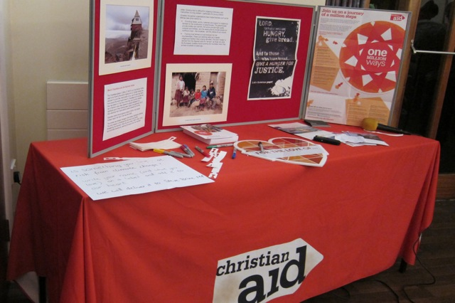 Christian Aid: Spreading Climate Change information at St. Martin in the Wood church Fairtrade event last weekend.