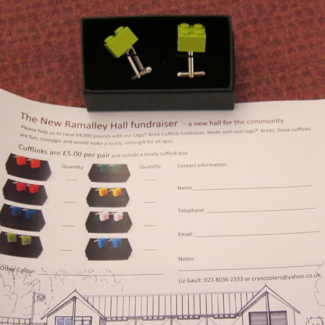 Lego Brick Cufflink Fundraiser for new Ramalley Hall.
