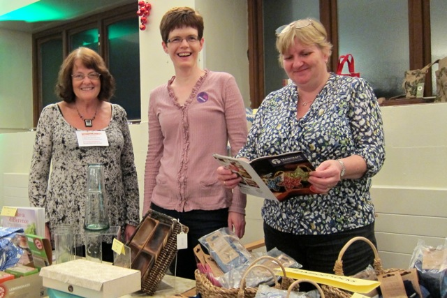 Chandler's Ford Fairtrade promoters: (Left to right): Hazel Bateman, Elizabeth Seaman, and Jane Keen.