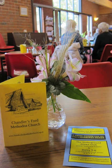Friendly, relaxing ambiance at Chandler's Ford Methodist Church Coffee Room.