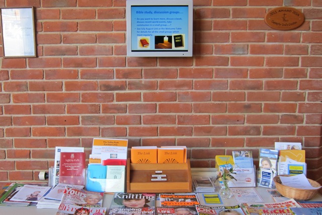 There is an electronic notice board at the Dovetail Centre.