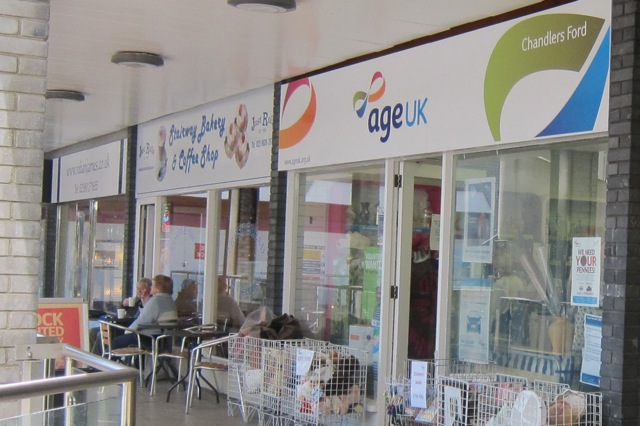 Age UK charity shop in the Fryern Arcade of Chandler's Ford.