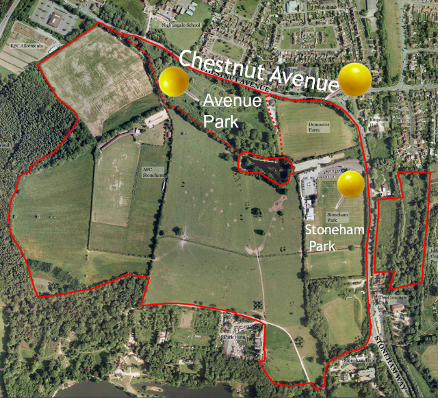 Proposal for 'Land South of Chestnut Avenue', North Stoneham, Eastleigh. (Original image via Highwood Group. 3 extra texts are added for this post.