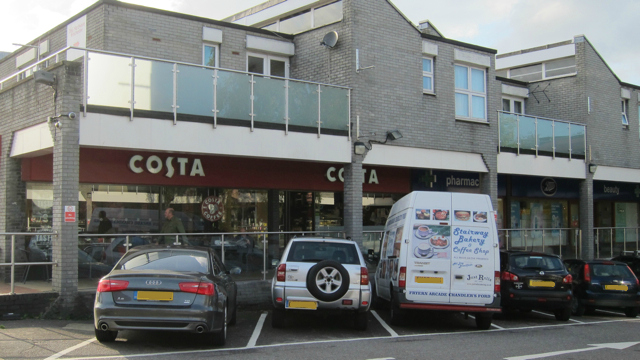 White van of Stairway Bakery outside Costa Coffee, Fryern Arcade, Chandler's Ford.