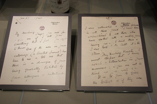 "Clementine Churchill's famous letter to Winston, by <a href=""https://www.flickr.com/photos/slocumjoseph/8895244644"">slocumjoseph</a> via Flickr."