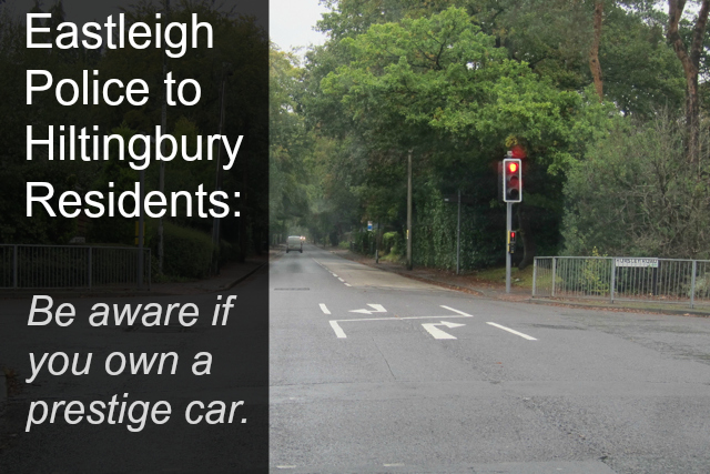 Eastleigh Police: Warning to Hiltingbury residents.
