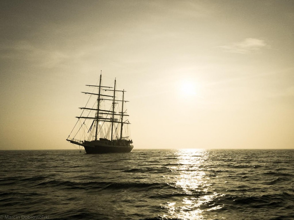 Nelson approaches the Thames estuary at dusk following her Atlantic crossing.