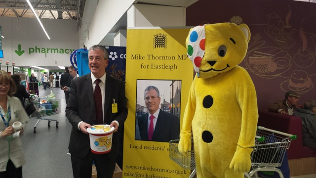 Mike Thornton MP for Eastleigh at Asda for Children in Need.