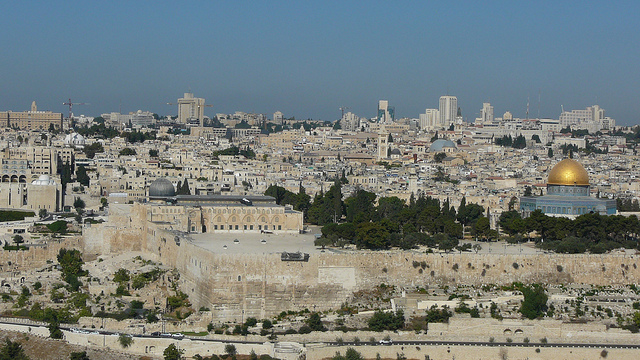 "Old Jerusalem viewed from the Mount of Olives. Image by <a href=""https://www.flickr.com/photos/tony709/5809317017/in/photolist-9Rmgye-7e3kLX-abbycV-8hNh1v-5iLSK-c3Raob-dBgUEs-iCnEBF-75rdz-57QYkT-e7efK-mEbCm-fP3Qnz-5NdPH4-bZhec1-daa8u2-mFJmH-fMj85C-e7enA-883sKk-881WCx-ddzxQX-4fjZZz-5NdFWk-2HfDPD-57QXLK-4fp1EU-fPQJ3D-6dPbLN-c3cViQ-4LEQBh-59o8Zf-8YsXf-bH2fY-7VsGPf-4h1KRz-ah1Cgm-mEv92-4KLzZu-oaeF1f-hGSimS-4foVwC-7eYGKS-fMK3Lp-6jCsyr-aZ5Cfn-2PEDLK-aER52X-2Y8rtt-3KTZ9x"">Cycling Man</a> via Flickr."