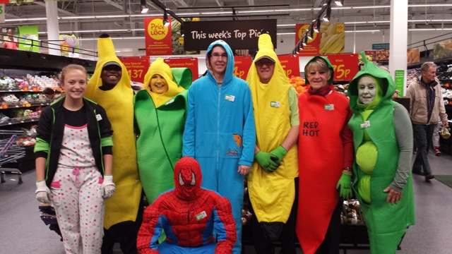 Asda Eastleigh's Produce colleagues dressed up for Children in Need 2014.