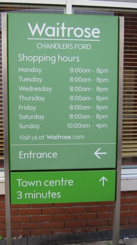 Waitrose Chandler's Ford sign