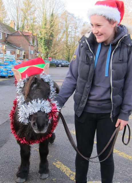 "Dennis and Amy from <a href=""http://hampshire-riding-therapy-centre.org.uk/"">Hampshire Riding Therapy Centre</a> welcome Santa to Brambridge Park."