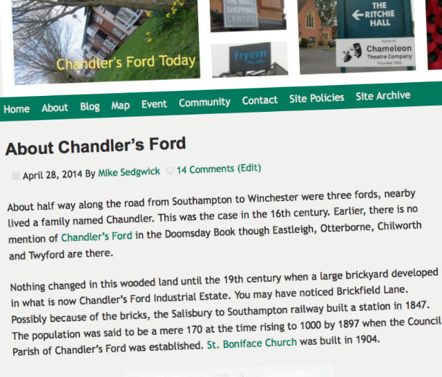 About Chandler's Ford - history of Chandler's Ford by Mike Sedgwick.