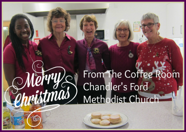 (Left to right): Volunteers at The Coffee Room, Chandler's Ford Methodist Church: Chichi, Daphne, CAroline, Heather, and Ada.