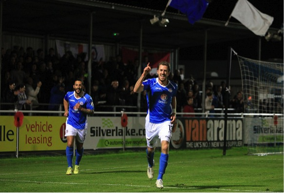 Jack Midson Eastleigh No 12 opens the scoring for Eastleigh just before half time