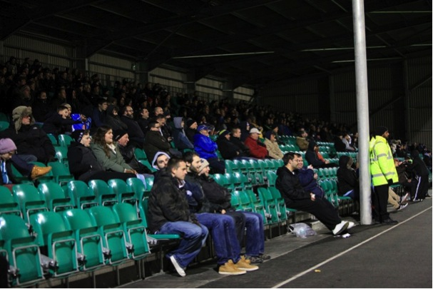 Supporters made good use of the new all seater stand that was used for the first time last night.