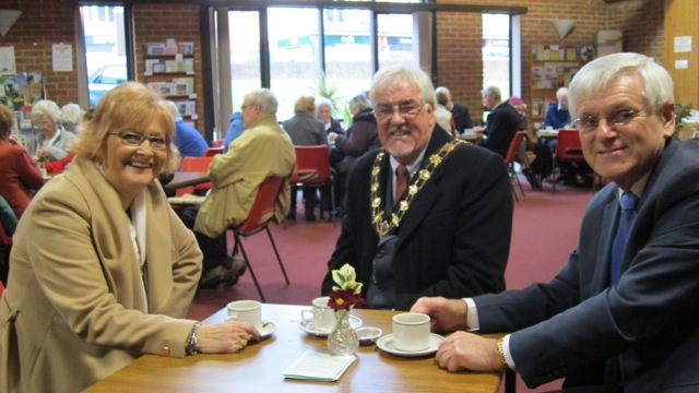 The Mayor of Eastleigh Councillor Tony Noyce, Mayoress Mrs Janice Noyce, and Bob Campbell, Chairman of Chandler's Ford Age Concern.