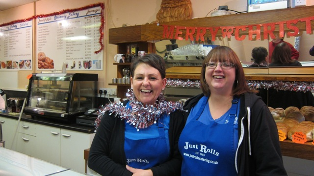 Linda (on the left) and Gemma at Stairway Bakery and Coffee Shop wish you a Merry Christmas.
