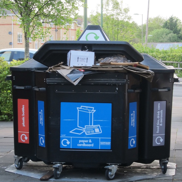 Huge recycling bins at the Central Precinct.